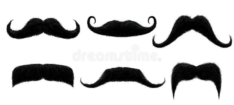 Bigote del vintage Bigote retro divertido, bigotes falsos y ejemplo aislado del vector de los bigotes del pelo rizado libre illustration