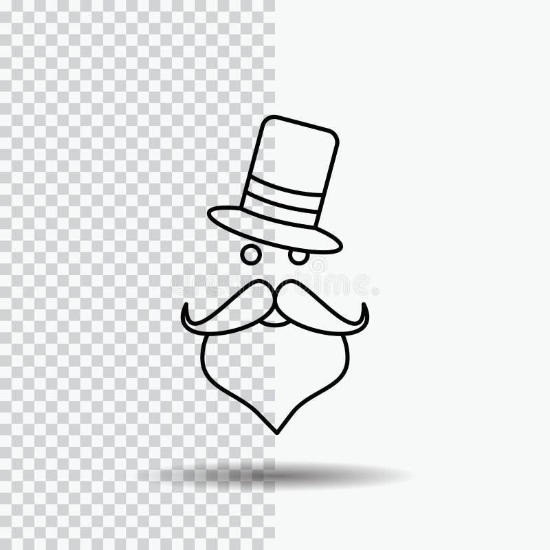 bigote, inconformista, movember, Papá Noel, línea icono del sombrero en fondo transparente Ejemplo negro del vector del icono ilustración del vector