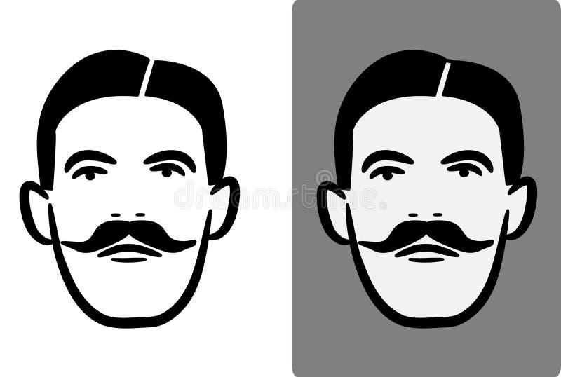 Bigote inglés victoriano Logo Illustration del caballero stock de ilustración