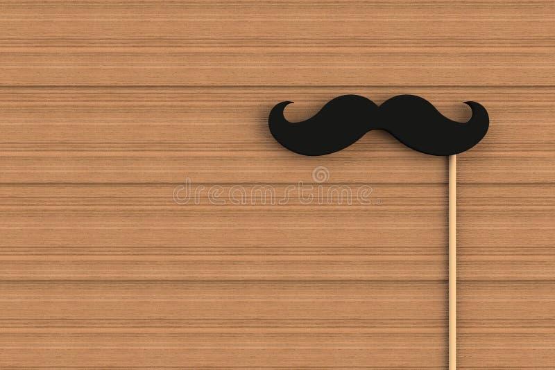 Bigote negro falso en el tablero de madera libre illustration