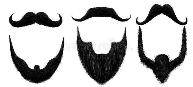 Bigote y barba Las barbas del hombre diseñan, máscara rizada de los bigotes y sistema aislado bigote del vector de la falsificaci stock de ilustración