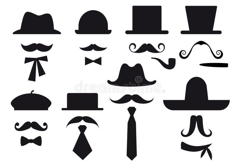 Bigote y sombreros, conjunto del vector ilustración del vector