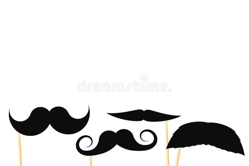 Bigotes de papel falsos negros en un palillo en un fondo blanco ilustración del vector