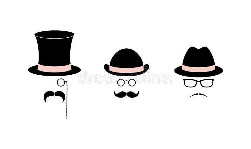 Bigotes, sombreros y vidrios libre illustration