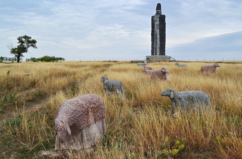 Bijący rekord statuy Barania baca nowa, Ukraina obraz royalty free