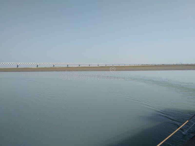 Bij bogibillbrug op boot die de brug verbonden arunachal en lakhimpur met dibrugarh is assam India royalty-vrije stock fotografie