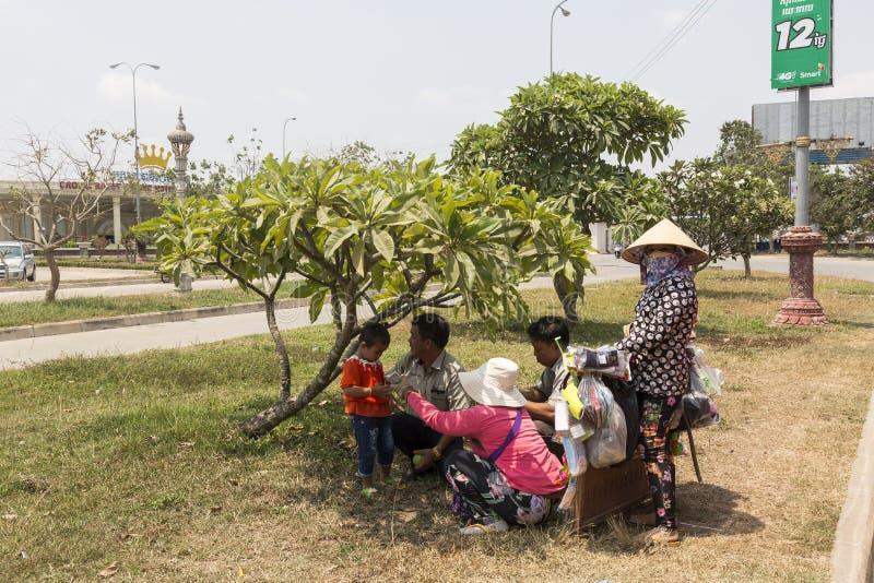Bij de grensovergang van Bavet tussen Kambodja en Vietnam royalty-vrije stock afbeeldingen