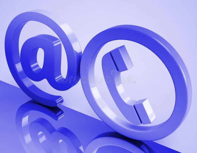 Bij de Middelen E-mail van het Telefoonteken en Telefoon royalty-vrije illustratie