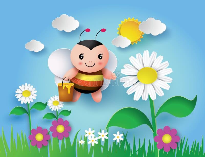 Bij die rond met een boordevolle kruik heerlijke honing vliegen stock illustratie