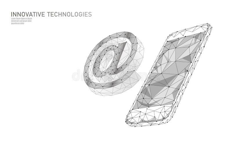 Bij e-mail sociaal media teken Lage poly 3D veelhoekig bij symboolbericht in boodschappers persoonlijk beroep Online royalty-vrije illustratie