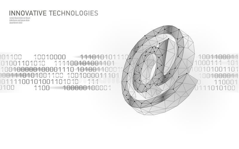 Bij e-mail sociaal media teken Lage poly 3D veelhoekig bij symboolbericht in boodschappers persoonlijk beroep Online vector illustratie