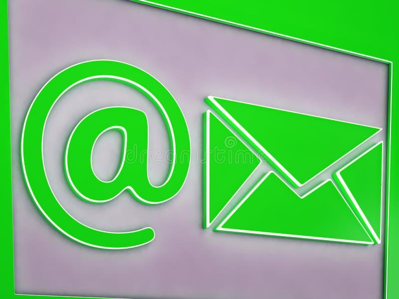 Bij E-mailknoop die Online Overseinen tonen royalty-vrije illustratie