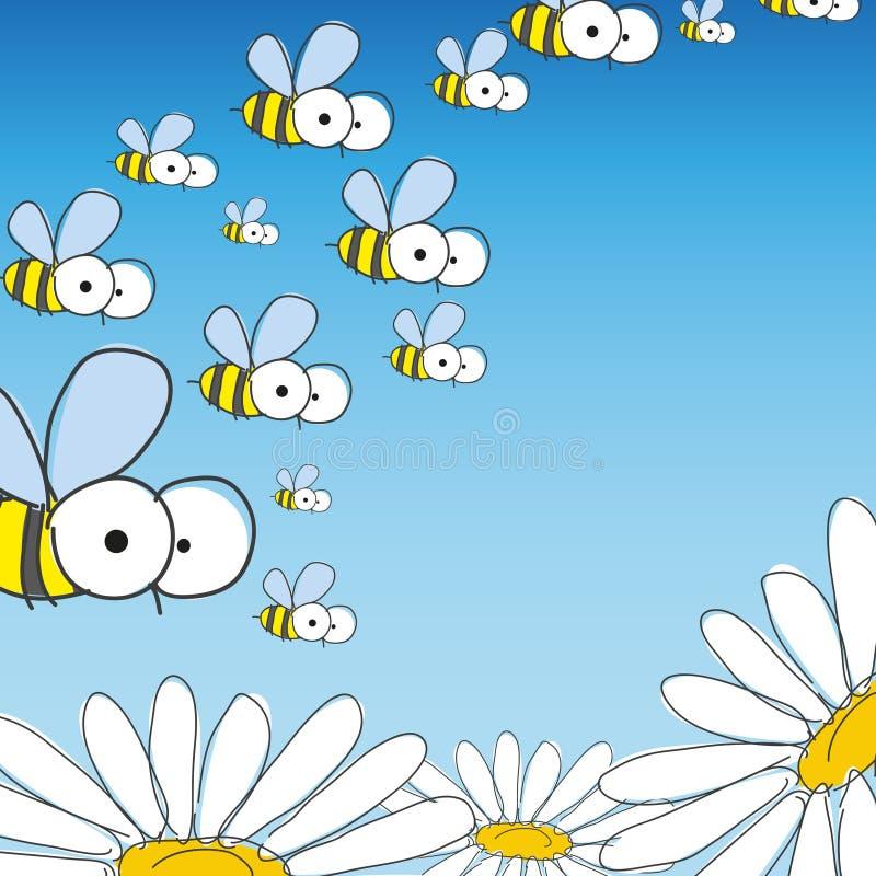 Bij en Daisy. De lenteachtergrond. vector illustratie