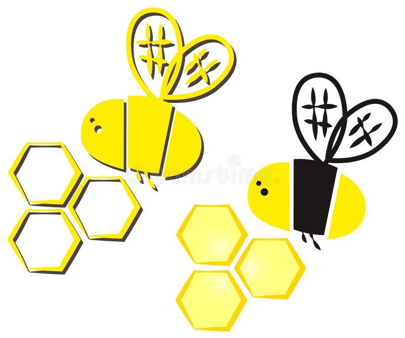 Bij en honingraat vector illustratie