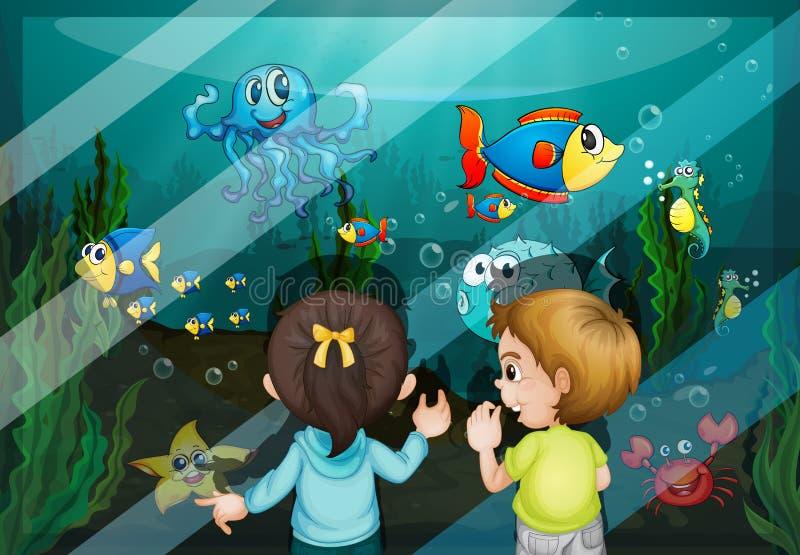 Bij het aquarium vector illustratie