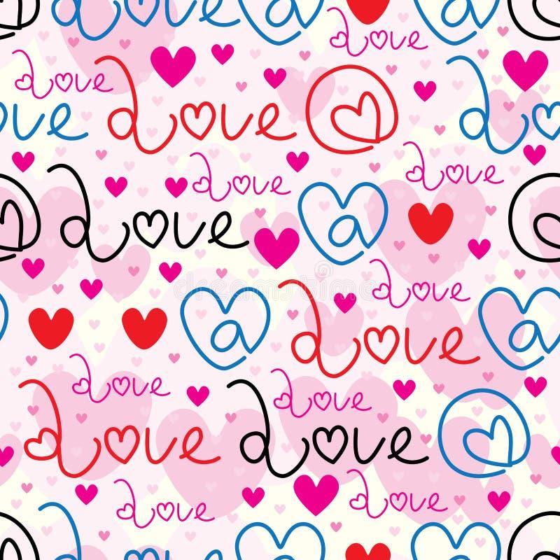 Bij het naadloze patroon van het liefdeteken vector illustratie