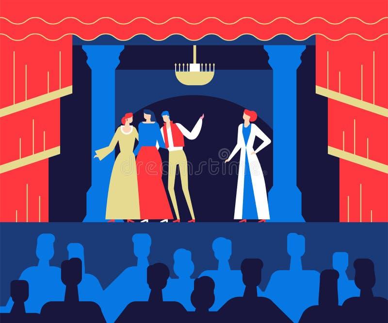 Bij het theater - de vlakke kleurrijke illustratie van de ontwerpstijl stock illustratie
