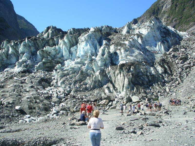 Bij het tonguiteinde van Gletsjer Franz-Josef royalty-vrije stock afbeelding