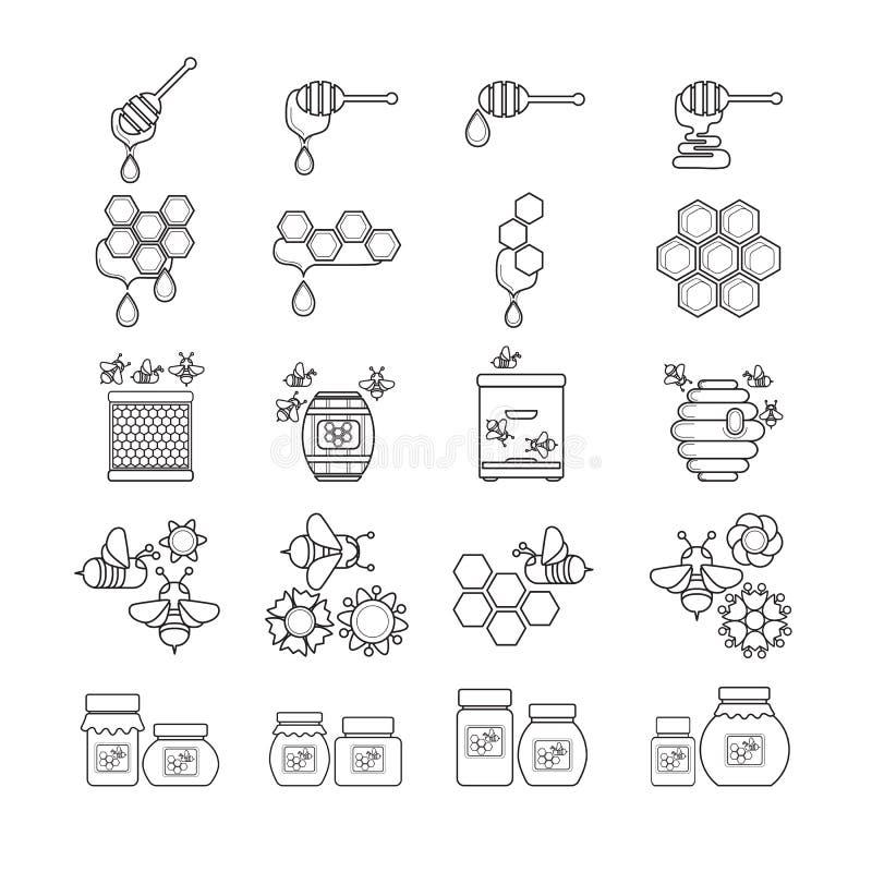 Bij, honing, dipper, honingraat, bijenkorf zwart-wit pictogram vector illustratie
