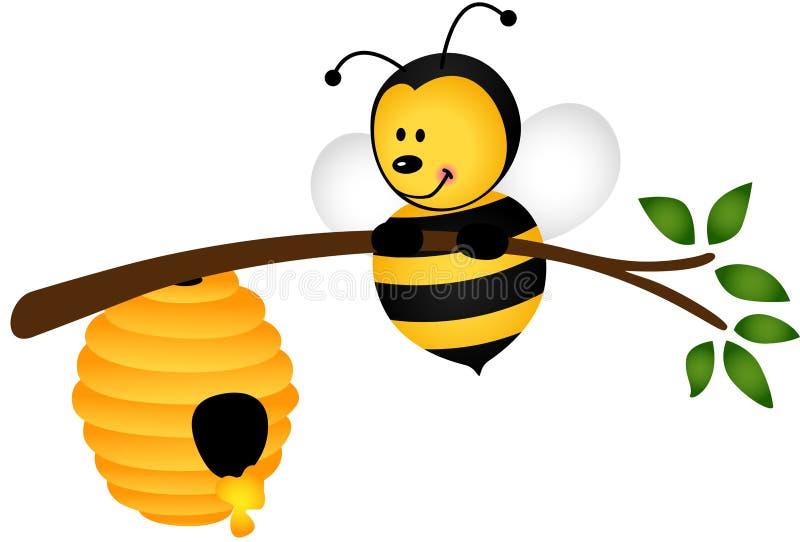 Bij met Bijenkorf op Tak stock illustratie