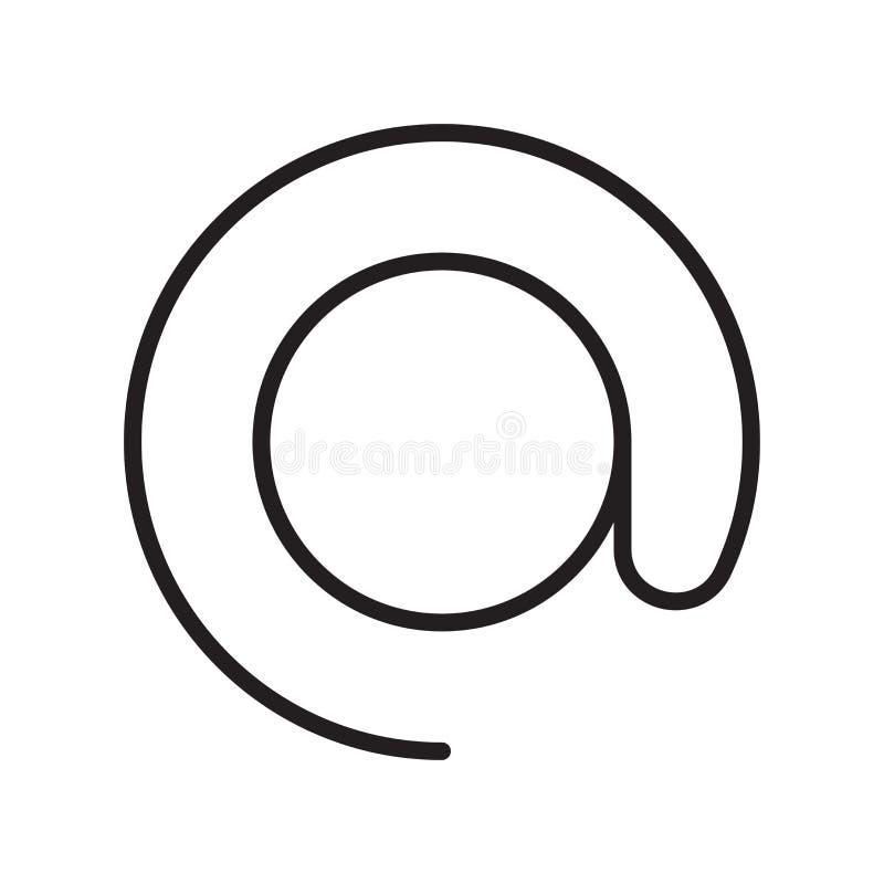Bij pictogram vectordieteken en symbool op witte achtergrond, bij embleemconcept wordt geïsoleerd, overzichtsknop, lineair teken royalty-vrije illustratie