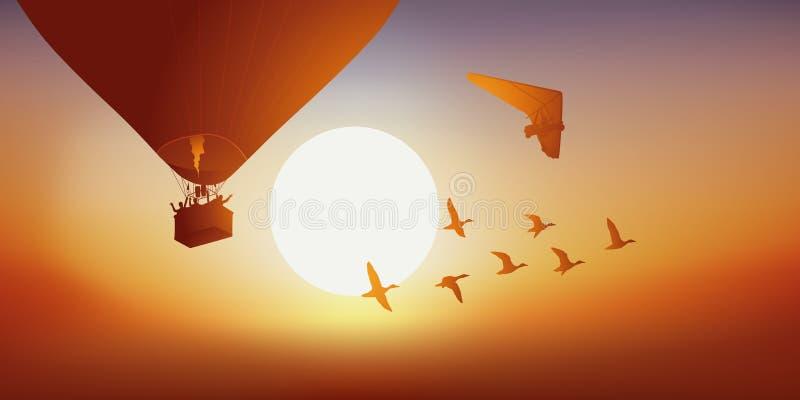 Bij schemer, de vlucht van een ballon, een vleugeldelta en een groep eend stock illustratie