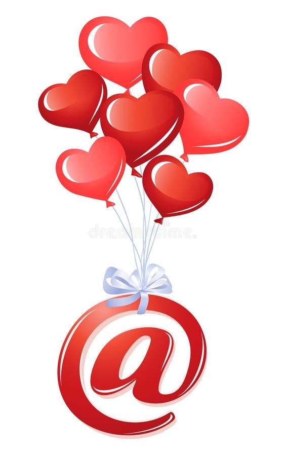 Bij-symbool met bos van hartballons stock illustratie