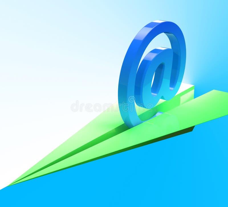 Bij Teken toont het Vliegtuig Web Postmededeling royalty-vrije illustratie