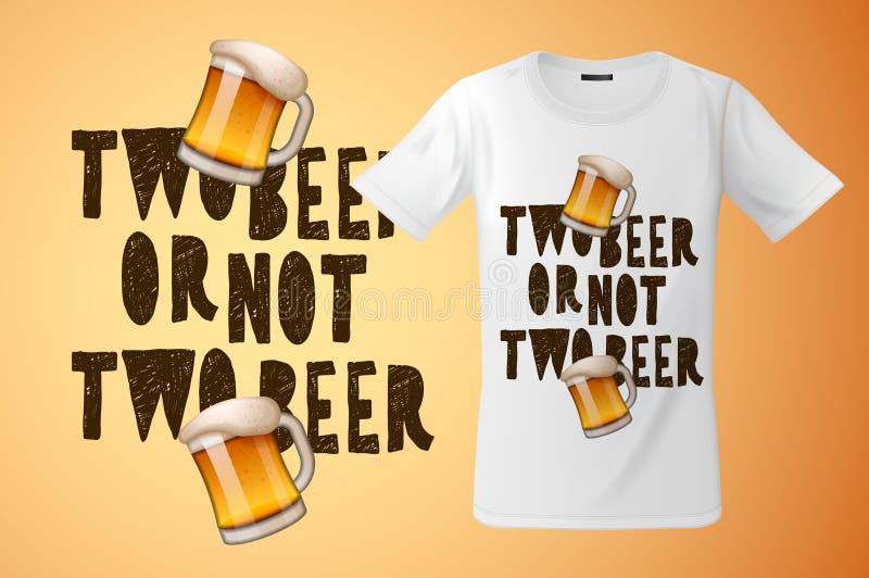 Bij twee of niet twee bierslogan grafisch voor t-shirtontwerp, moderne druk, herinneringen en ander gebruik, vectorillustratie vector illustratie