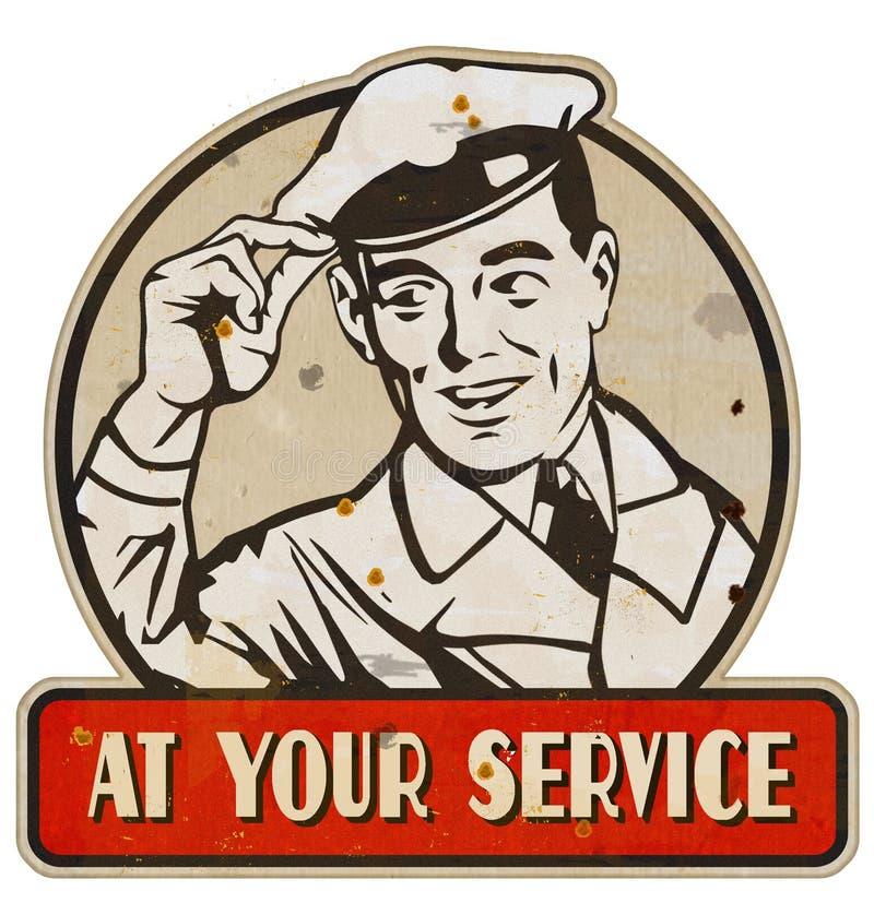 Bij Uw Tin van het het Teken Retro Uitstekend Metaal van de de Dienstmens vector illustratie