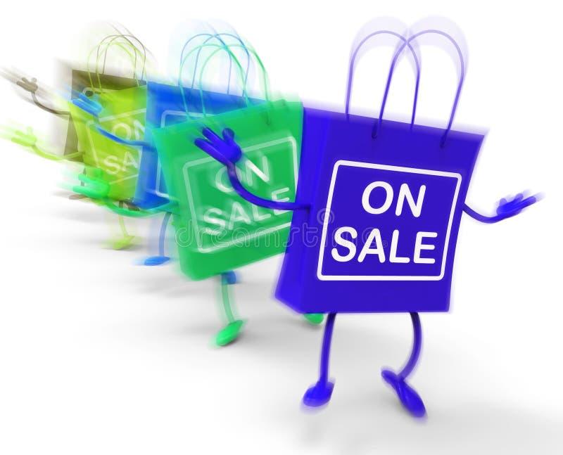 Bij Verkoop het Winkelen tonen de Zakken Verkoop, Overeenkomsten, en Koopjes stock illustratie