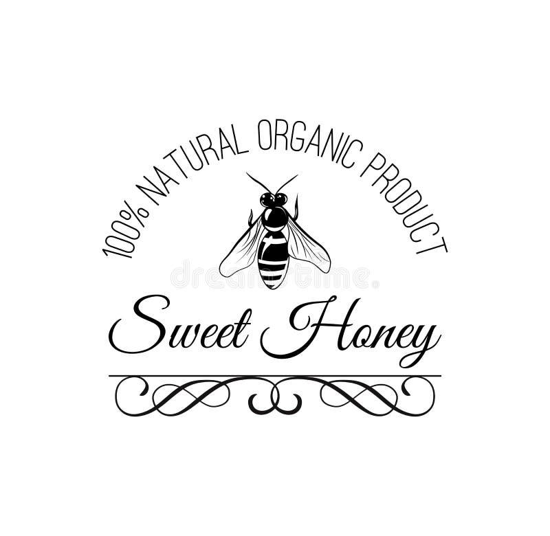 Bij Zoet honingsembleem Natuurlijke biologisch productinschrijving Decoratief overladen kader Vector vector illustratie
