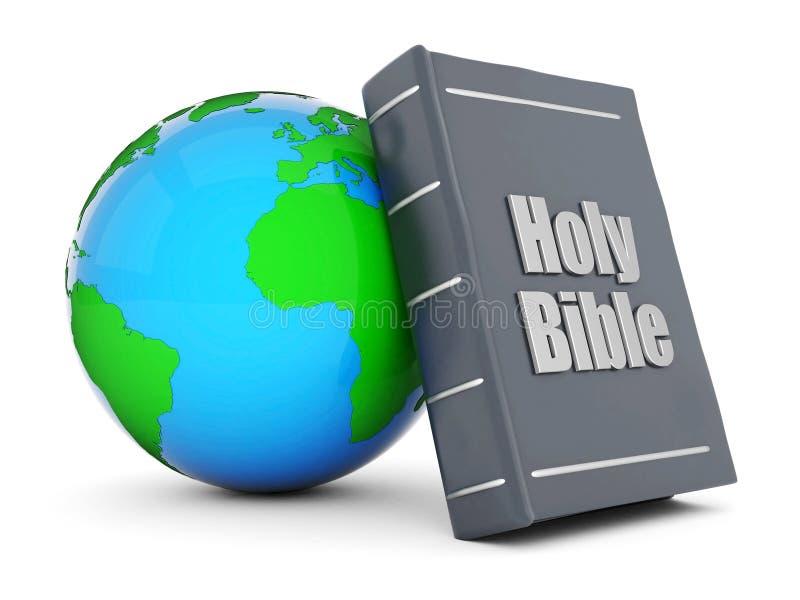 Bijbel en bol royalty-vrije illustratie