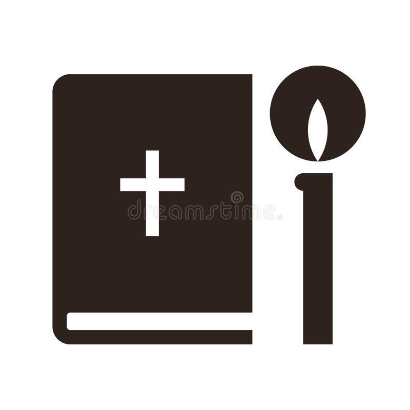 Bijbel en kaarspictogram stock illustratie