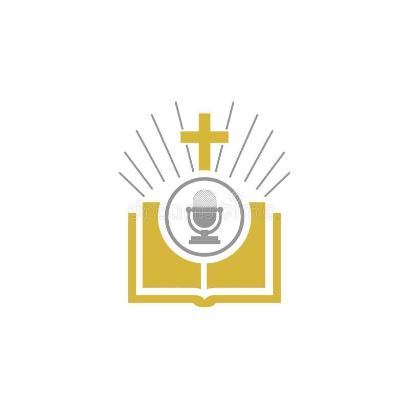 Bijbel en microfoonembleem vector illustratie