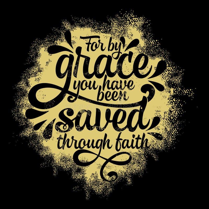 Bijbel het van letters voorzien Christelijke illustratie Voor door gunst bent u gered door geloof royalty-vrije illustratie