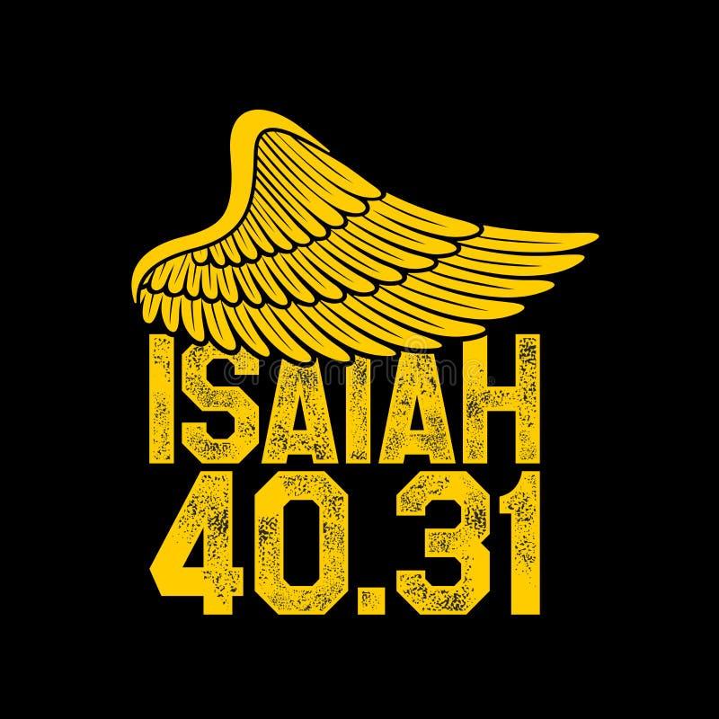 Bijbel het van letters voorzien Christelijke kunstvleugel Het 40:31 van Isaiah vector illustratie