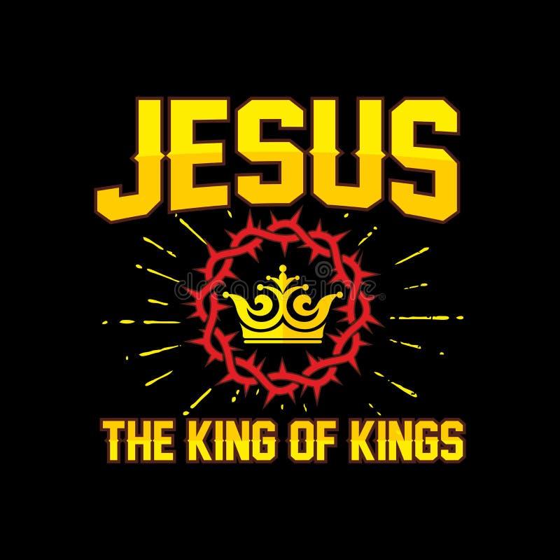 Bijbel het van letters voorzien Christian Art Jesus - de Koning van Koningen vector illustratie