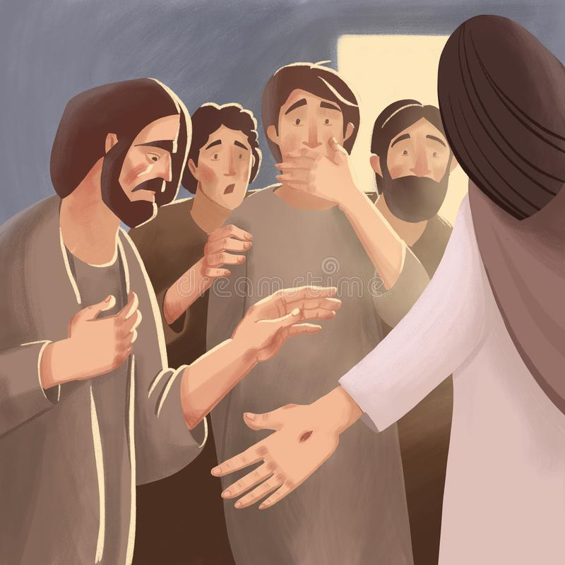 Bijbelillustratie over verrijzenis van Jesus Christ en verschijning aan discipelen en apostelen vector illustratie