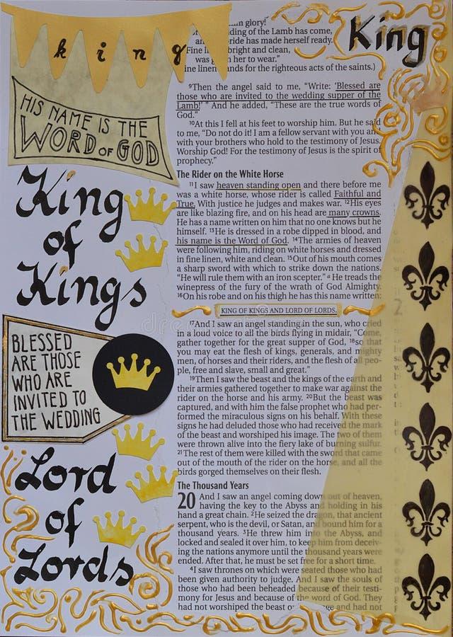 Bijbelkunst die over Koning van Koningen journaling stock afbeelding