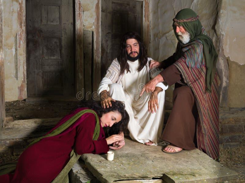Bijbelscène met Mary van Bethany royalty-vrije stock fotografie
