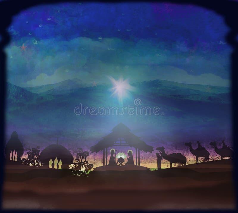 Bijbelse scène - geboorte van Jesus in Bethlehem vector illustratie