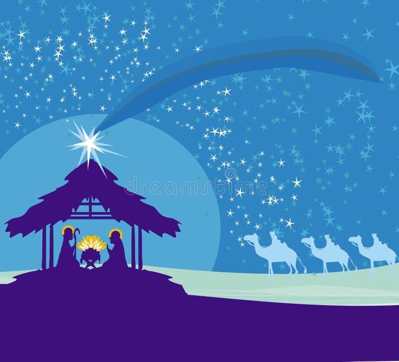 Bijbelse scène - geboorte van Jesus in Bethlehem royalty-vrije illustratie