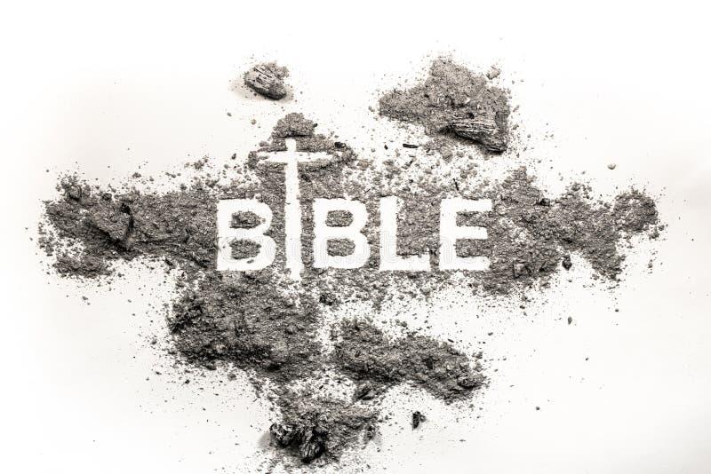 Bijbelwoord in as, stof en dwarstekening als godsdienst, a wordt geschreven die stock afbeelding