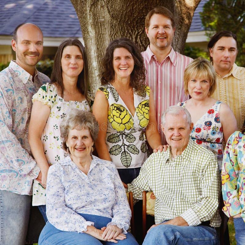 Bijeenkomst de van meerdere generaties van de Familie stock foto