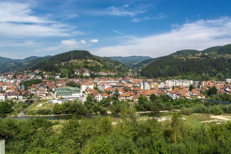 Bijelo Polje, Panorama der Stadt, Montenegro lizenzfreies stockbild