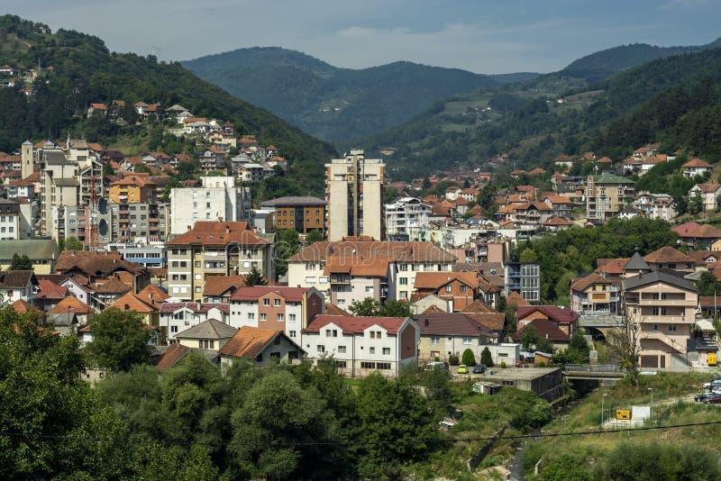 Bijelo Polje, Panorama, Montenegro Crna Gora stockfotos