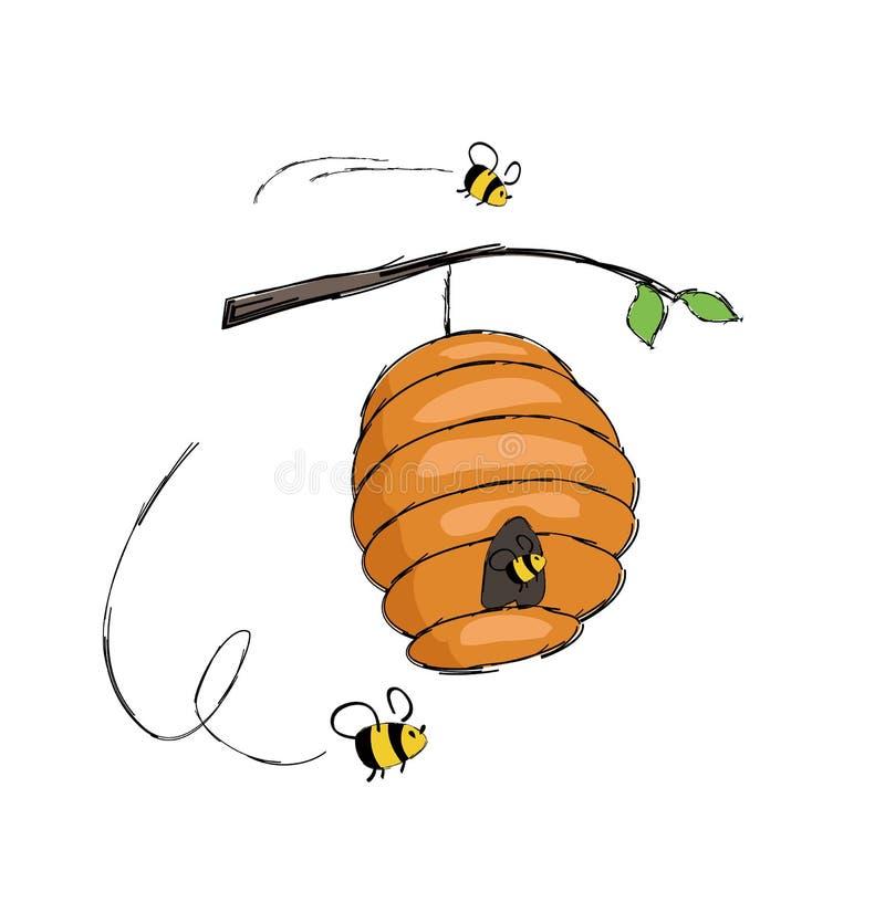 Bijen die in Bijenkorf het Hangen op de Vector van de Boomtak vliegen vector illustratie