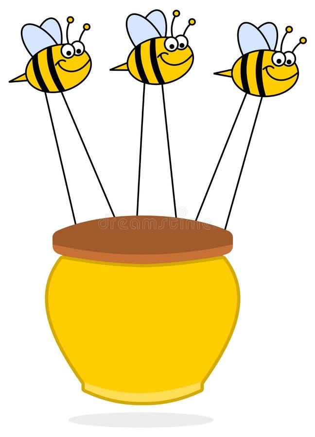 Bijen die honings gele illustratie dragen royalty-vrije illustratie