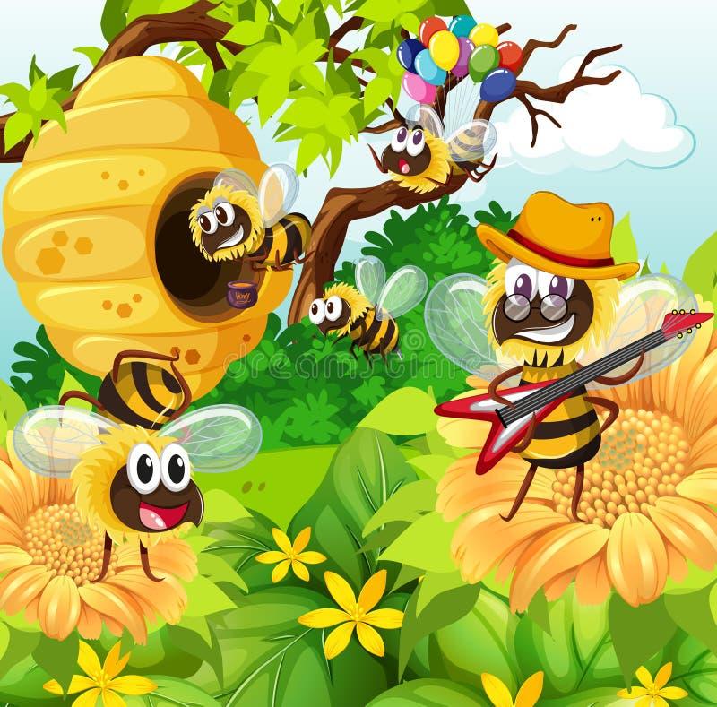 Bijen die rond bijenkorf in tuin vliegen vector for Vliegen in de tuin